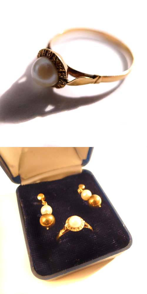 Set Ohrstecker & Ring 14k Gold mit Perlen
