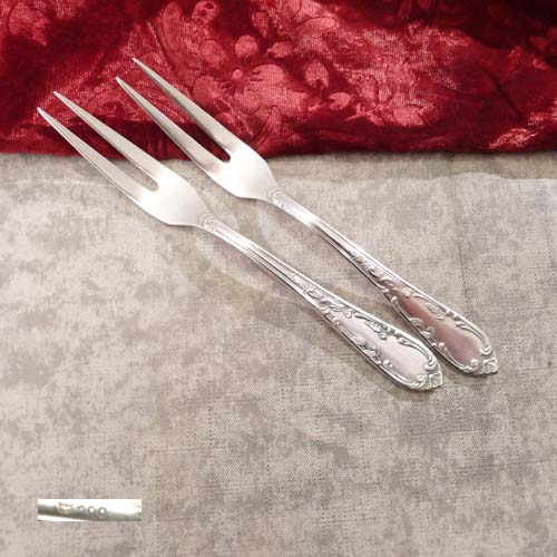 2 Meat Forks Rokoko 100 silverplated