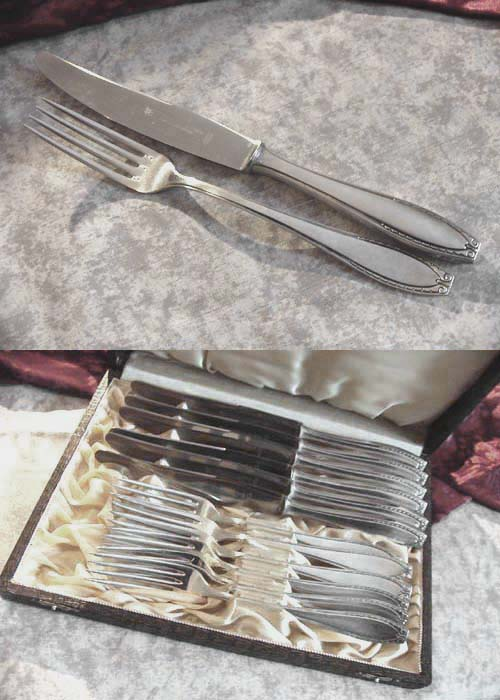 OKA 116 6 knifes and 6 forks 90 silverplated