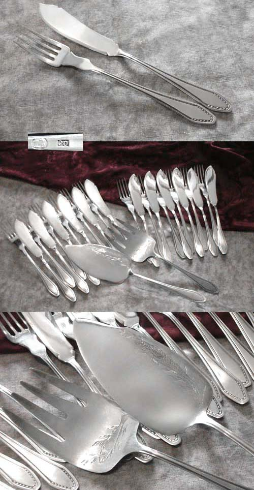 late Art Nouveau Fish Cutlery Set 12 Persons 20 silverplated