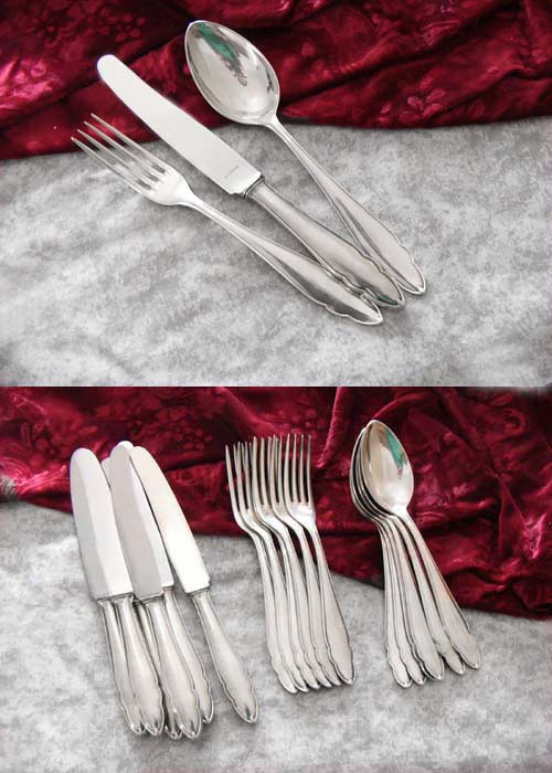 Bruckmann 610 Chippendale Flatware set 6 Persons 90 silver plate