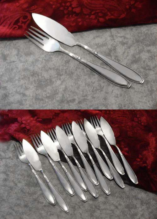 WMF 1400 Lily Fish Cutlery Set 6 Persons 90 silverplated