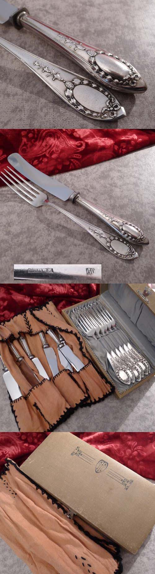 CBS Art Nouveau Flatware Service 6 Persons 60 silverplated