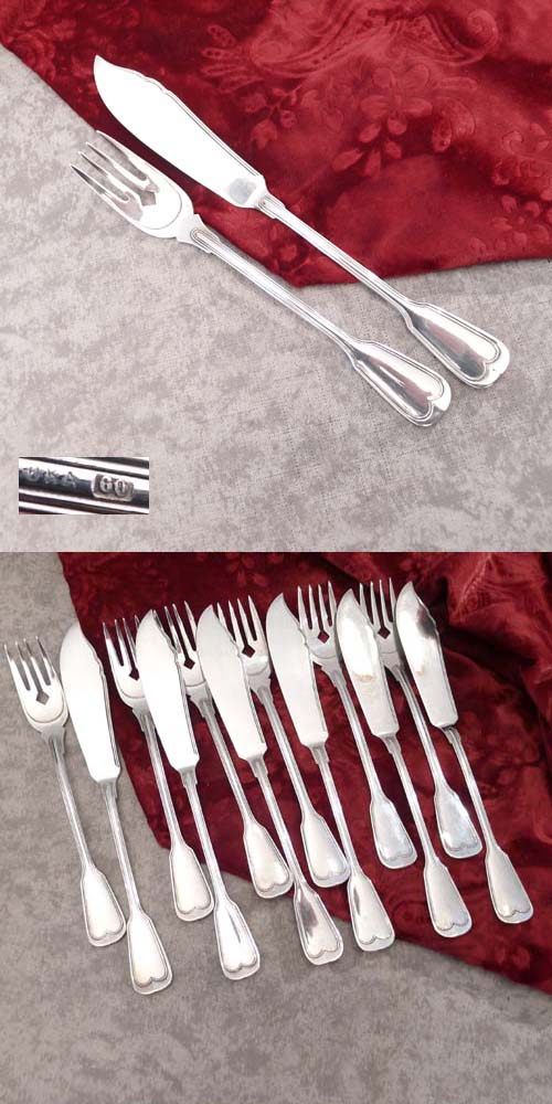 OKA Augsburger Faden Fish Cutlery 6 persons 60 silverplated