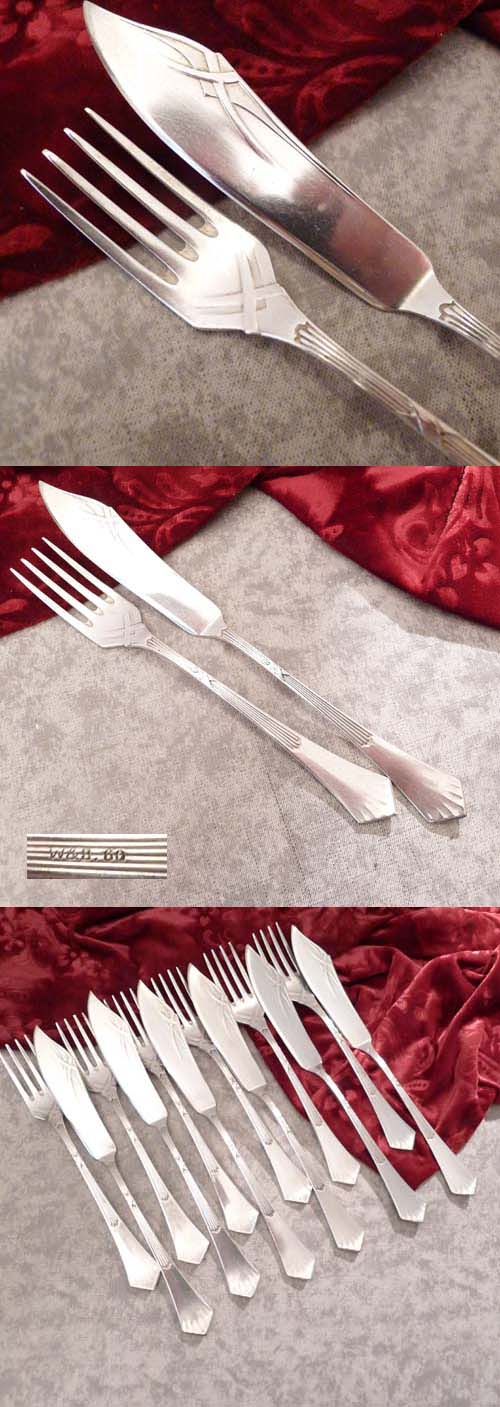 Art Nouveau Fish Cutlery Set W&B 6 Persons 60 silverplated