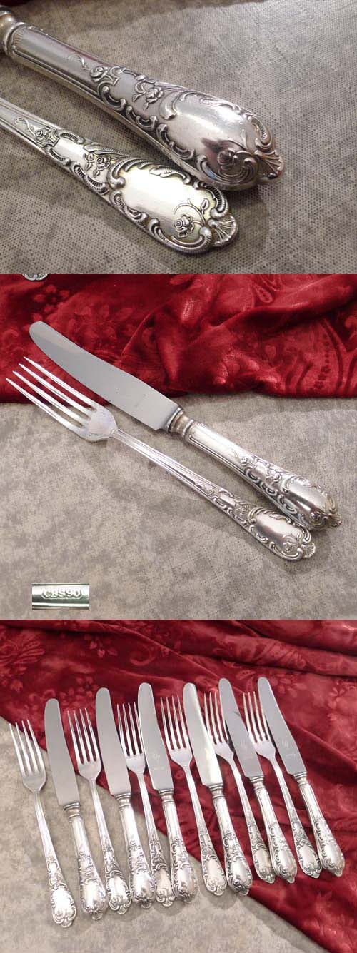 Rococo Dessert Cutlery Set 6 persons CBS 90 silverplated
