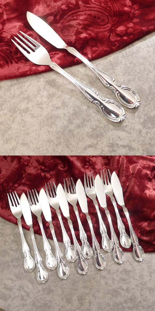 WMF Baroque Fish Cutlery Set 90 silverplated