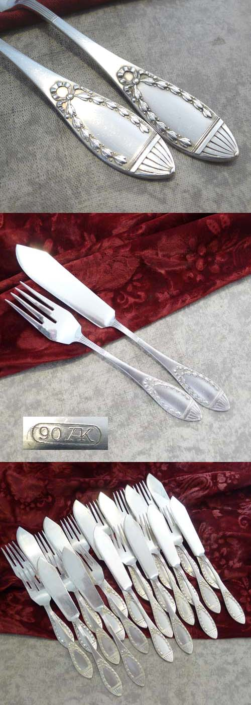Art Nouveau Fish Cutlery Set 12 persons Künne Altena 90 silverpl