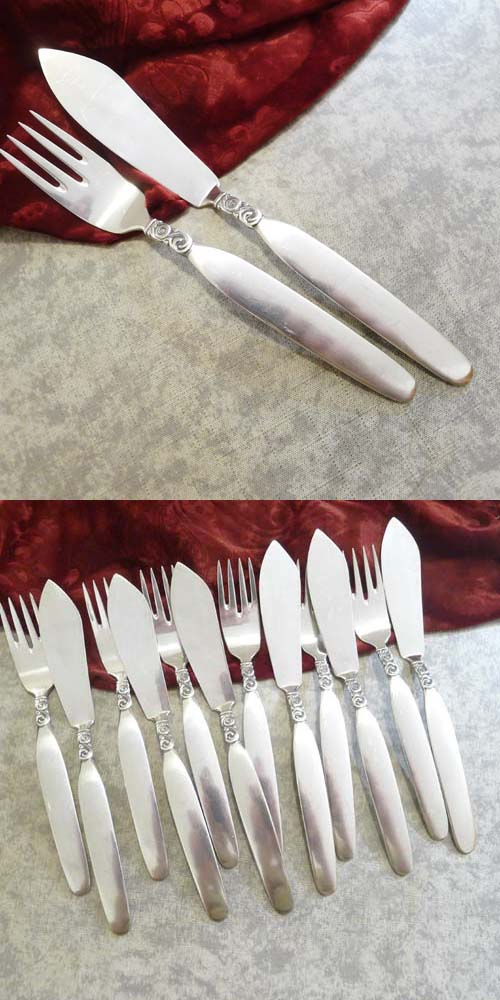 Hanseat 90 Nordland Fish Cutlery Set 6 Persons 90 silverplate