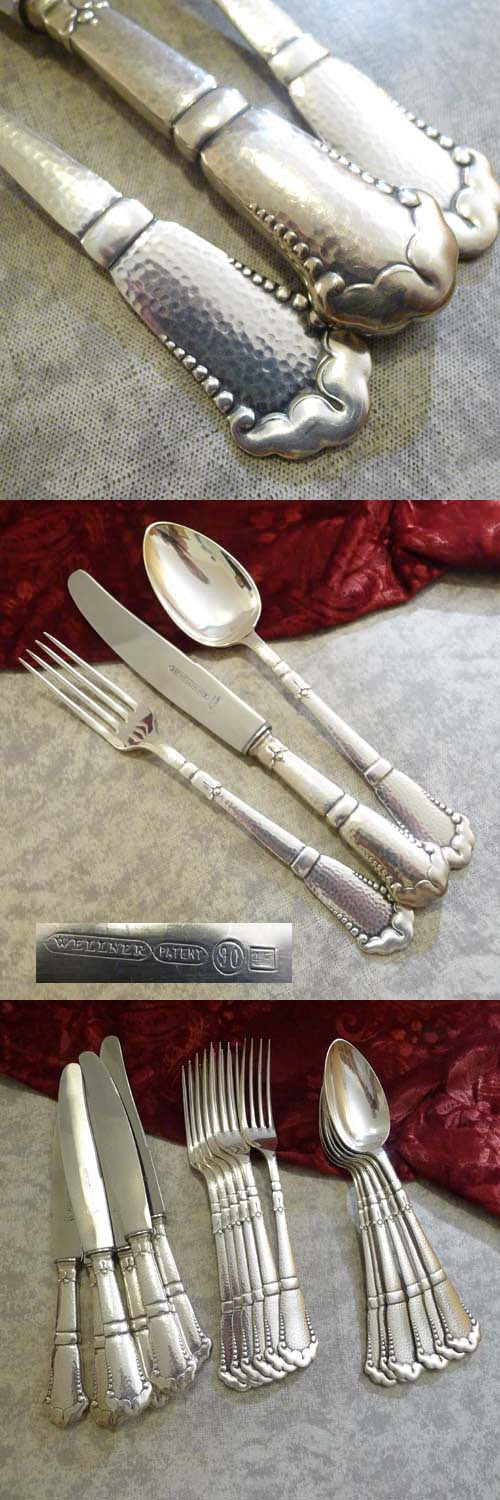 Wellner 344 hammered Flatware Set 6 Persons silverplated