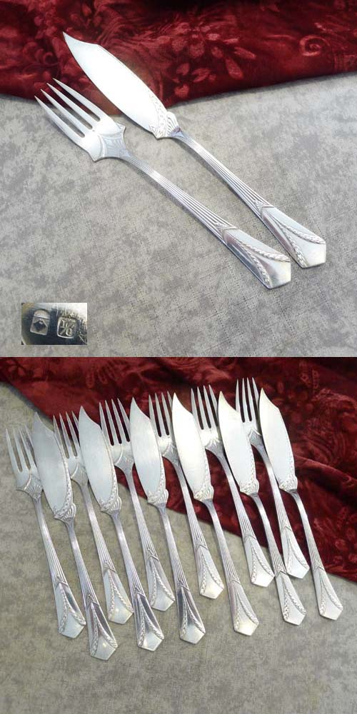 WMF 26 Empire Fish Cutlery Set 6 Persons I/O silverplated