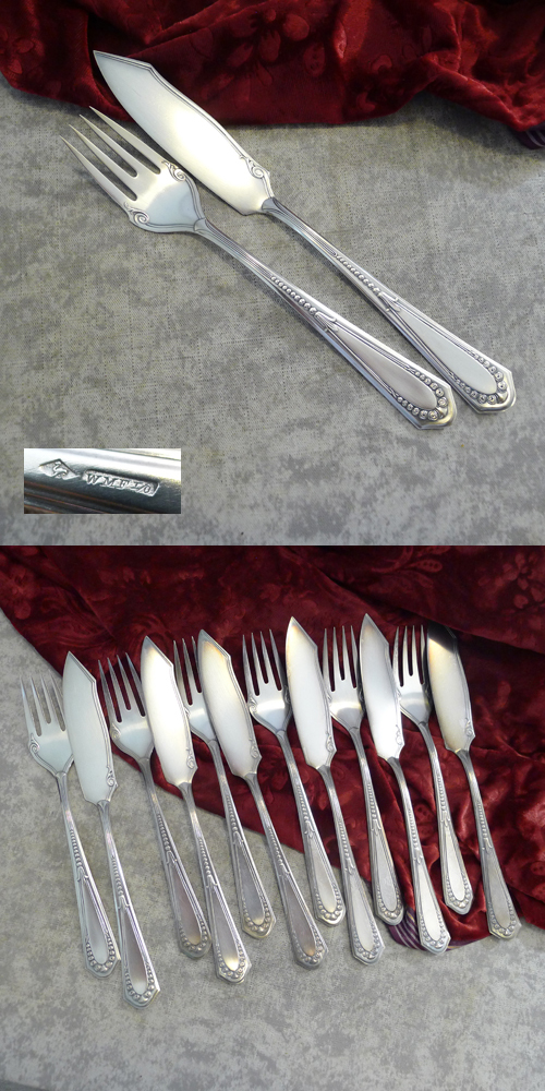 WMF 400 Röschen Fish Cutlery Set 6 Persons I/O silverplated
