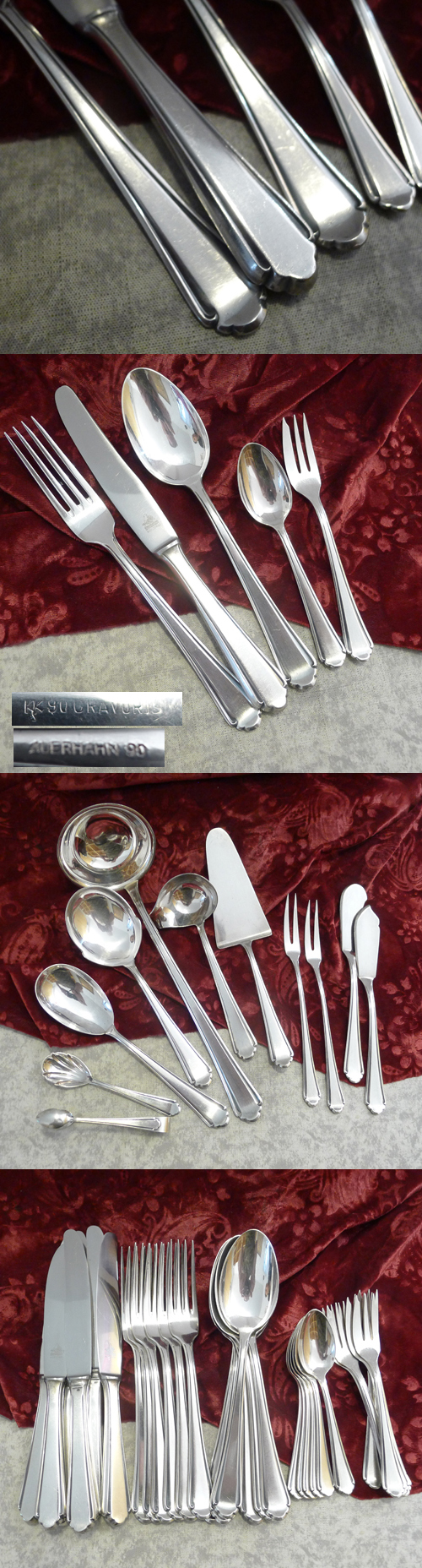 Auerhahn 6 Persons Flatware + Serving Cutlery Set 90 silverplate