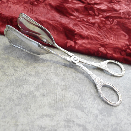 Cake Tongs Rococo Pattern silverplated