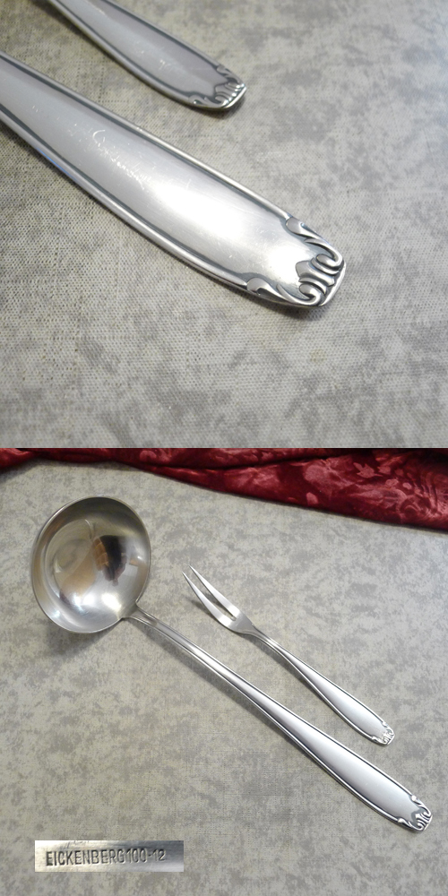 Eickenberg Soup Ladle & Meat Fork 100 silverplated